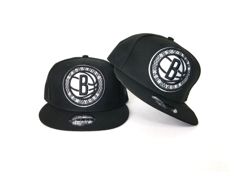 best service a5efc 37a95 Details about New Era Brooklyn Nets Glitter Logo 9Fifty Snapback Hat Team  color Black