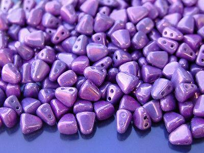 10g Czech Nib - Bit Twin Hole Beads 6x5mm Luster Metallic Amethyst Chalk