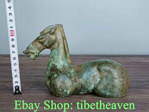 "6.8"" Antique China Bronze Ware Dynasty Palace War Steed Horse Statue Sculpture"