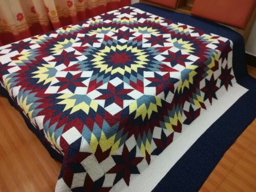 King size Machine pieced and quilted Star complete Quilt#J-151