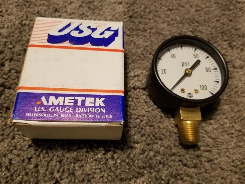 BRAND NEW IN BOX Ametek USG 1/4 ANPT LM Face Pressure Gauge 100psi