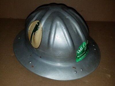 Vintage Hard Hat- Bf Mcdonald Aluminum Full Brim Plumbing Logos