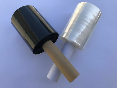 Shrink Wrap Stretch Film Clear Black 2 Rolls 5x1000 90 Gauge With Handle