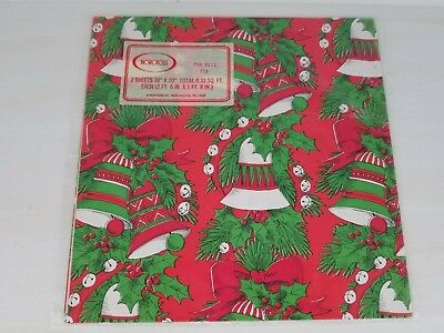 Vintage Norcross Holiday Bells Mistletoe Christmas Gift Wrap Paper Sheets  Holiday Gift Wrap