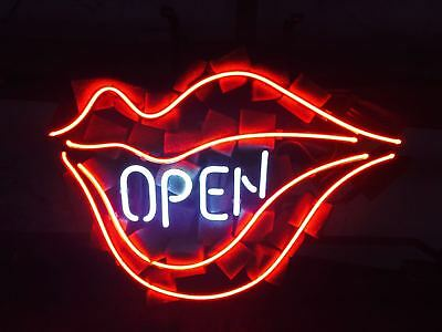 Open Lips Neon Sign Light Beer Bar Pub Store Wall Decor Visual Artwork17x14
