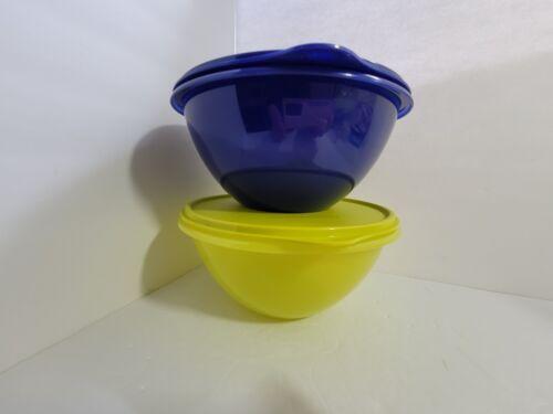 "New TUPPERWARE Wonderlier 9"" Bowl BLUE GREEN 12 Cups FREE US SHIP Set Of 2"