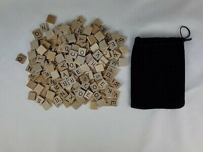 Original 200 Wood Scrabble Tiles Crafts Boardgames Replacement Scrapbooking