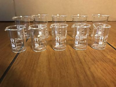 5pcs 5ml And 5pcs 10ml Beakerglass Beaker Lab Beaker