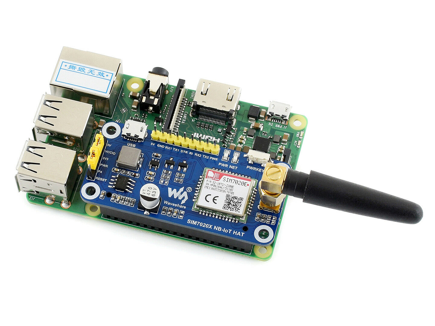 Waveshare NB-IoT HAT for Raspberry Pi Jetson Nano SIM7020E B
