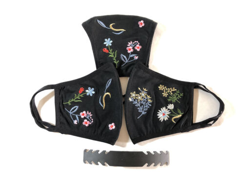 3 pieces Large Fall Embroidered Black Face Mask Unisex Cotton Washable w/ strap
