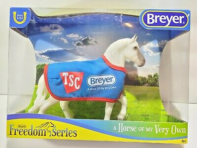 New Worn Box BREYER 5479 TSC Classic Grey Percheron Draft Horse w BLUE blanket ☆