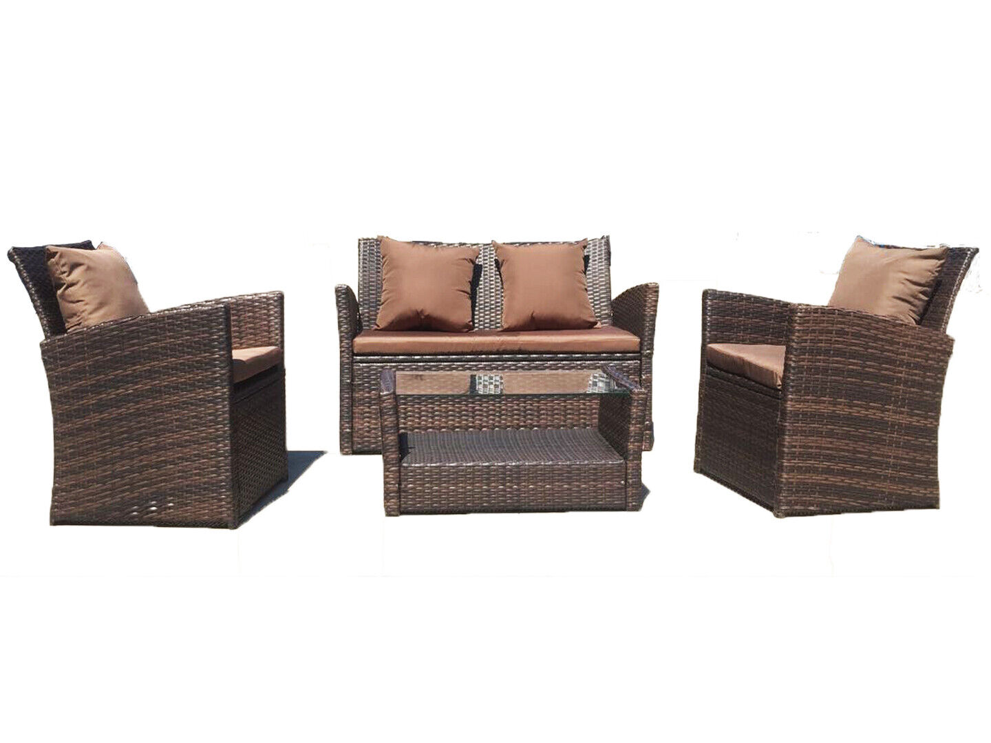 Garden Furniture - UFI 4pcs outdoor furniture Wicker Ratten Garden Sofa Cushioned and Table Brown