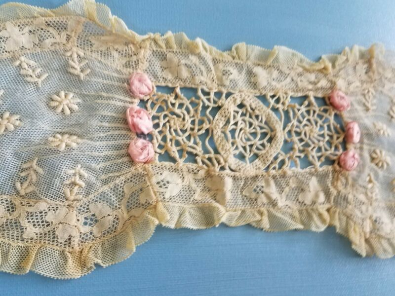 Antique French Tambour Mixed Lace Embroider Silk Ribbon Work Victorian Doll Trim
