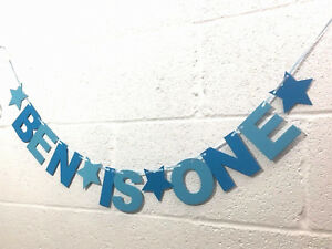 PERSONALISED BOYS 1st BIRTHDAY BANNER Blue bunting CAKE SMASH party decoration.