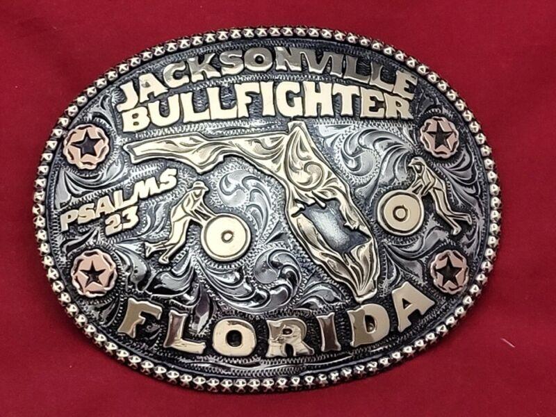RODEO BULLFIGHTER BARREL MAN CHAMPION☆TROPHY BUCKLE☆JACKSONVILLE FLORIDA☆#718