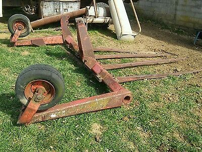 000 3 Point Hitch Large Square Bale Stacker Mover 4 Fork Farm Implement W Wheels