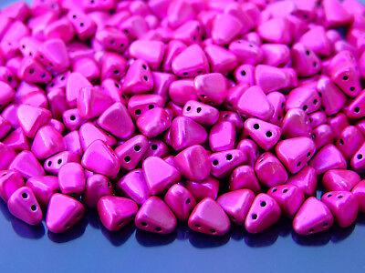 10g Czech Nib - Bit Twin Hole Beads 6x5mm Metalust Hot Pink