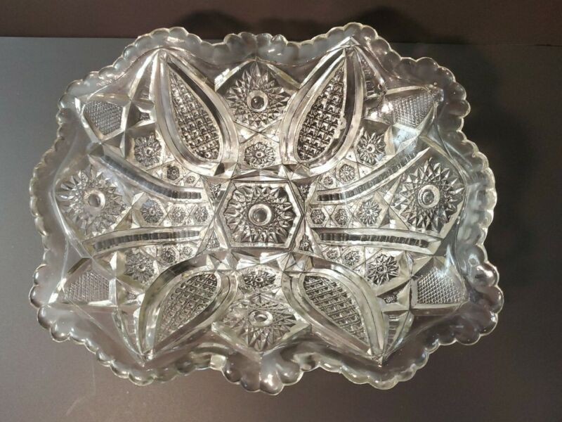 Antique EDWARDIAN IMPERIAL CLEAR GLASS CO. Clear Pressed Glass Berry Bowl.c 1904