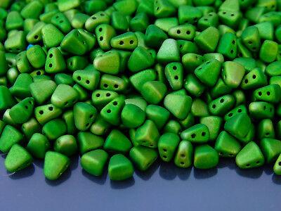 10g Czech Nib - Bit Twin Hole Beads 6x5mm Metalust Matte Apple Green