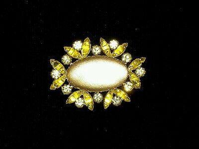 Vintage Yellow Stones Czech Crystal Pin/Brooch