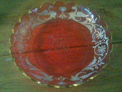 Victorian Moser cranberry white enamel Griffin Bird plate Bowl