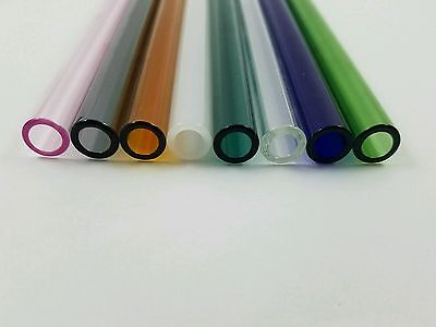 8 Tubes 8 Pyrex Glass Tubing 12 Mm Od 2mm Thick Wall 8 Colors Borosilicate