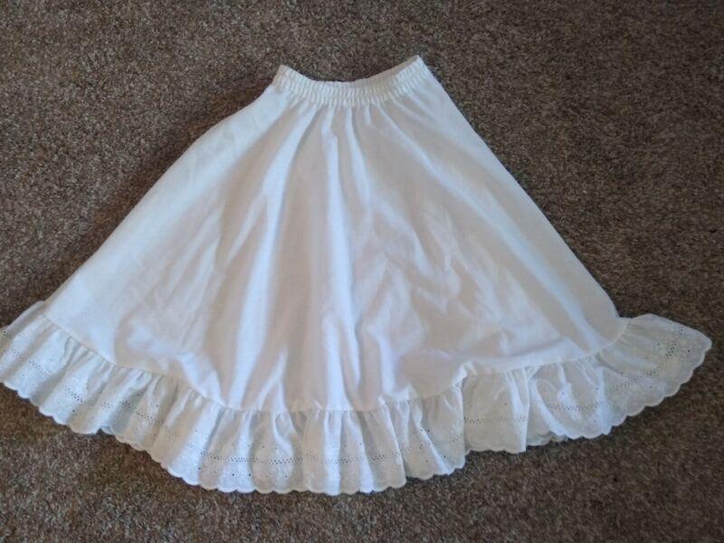 Vintage Her Majesty Girls Slip Skirt Size 10 White Eyelet Lace Trim FF
