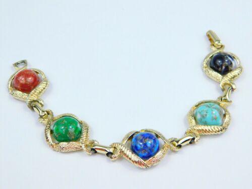 """Vintage Gold Tone Thermoset Multicolor Marbled Link Bracelet 7.5"""" Long Red Blue"""