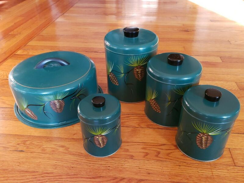 VTG Ransburg Metal Nesting CANISTER SET of 5 Hand Painted W Cake Tote Green Pine