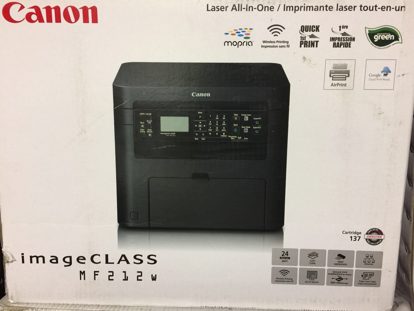 Brand New Canon imageCLASS MF212w 3-in-1 Mono MFP Laser Airprint Wireles printer