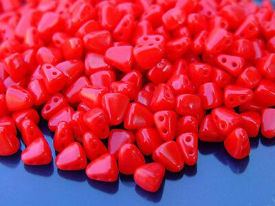 10g Czech Nib - Bit Twin Hole Beads 6x5mm Opaque Red
