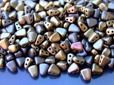 10g Czech Nib - Bit Twin Hole Beads 6x5mm Matte Metallic Leather