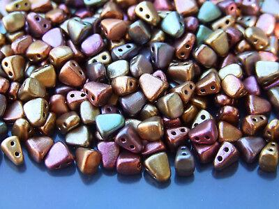 10g Czech Nib - Bit Twin Hole Beads 6x5mm Matte Metallic Gold Copper Iris