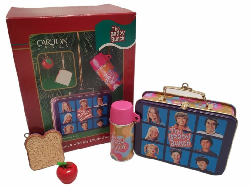 Vintage Carlton Cards Lunch With The Brady Bunch Ornament Set 2001 New In Box