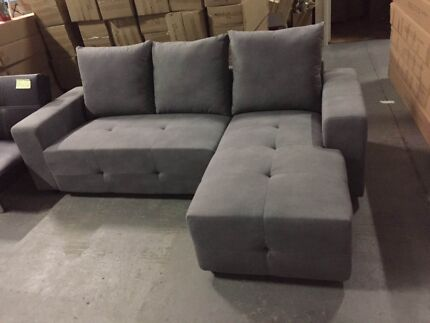 Brand new modern fabric L sharpe sofa couch $500 St Kilda Port Phillip Preview