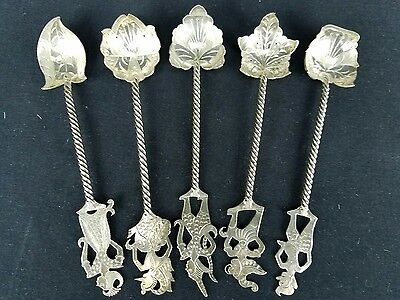 Burmese Signed Thai Siam God Handle Silverplate 5 Spoons Spiral Base Leaf Ends