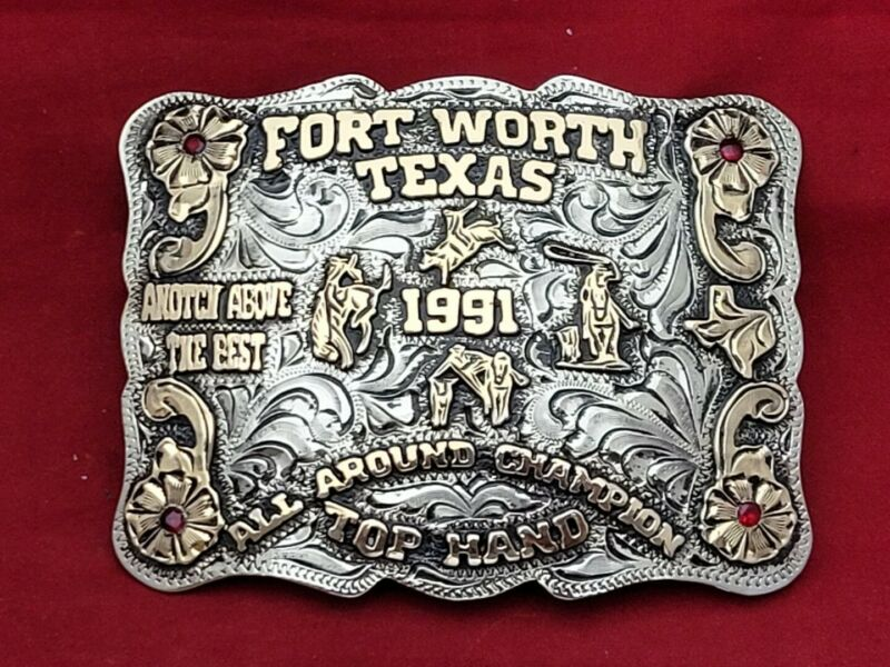 ALL AROUND CHAMPION RODEO TROPHY BUCKLE FORT WORTH TEXAS STOCKYARDS☆1991☆-813