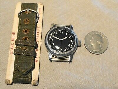 NEAR MINT - WWII Waltham US AAF Pilot Navigator Type A-11 Military Watch & Band