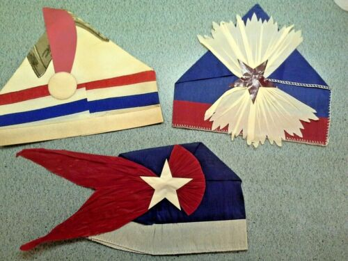 Lot 3 Rare Vintage 4TH OF JULY CREPE PAPER PARTY HATS - Beistle or Dennison?