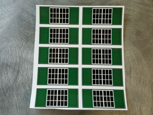 1/64 Farm custom scratch Machine Shed  window stickers with green shutters (10)