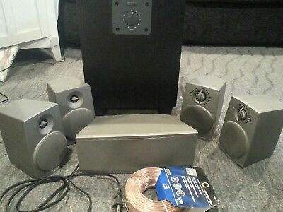 Boston Acoustics MicroSystem9000 II Powered Subwoofer Silver HomeTheater Speaker