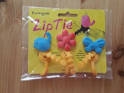 Zip Tie Cable Tidiers. Bird/Flower/Butterfly. New and Sealed.