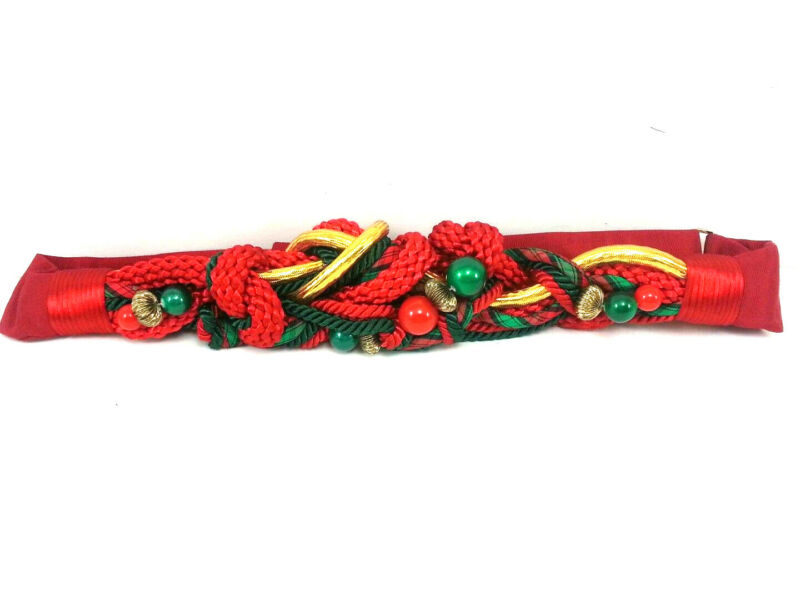 Carolyn Tanner Belt Red Green Gold Knotted Braided Christmas Vintage