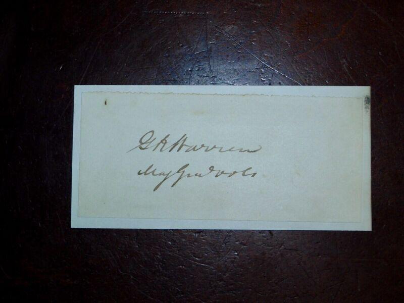 War Date Signature Major General G. K. Warren US Volunteers