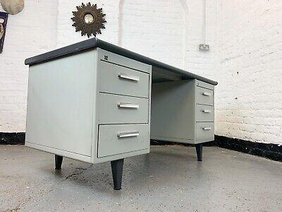 UK DELIVERY. Rare Mid-Century Industrial Gispen 7800 Metal Pedestal  Desk