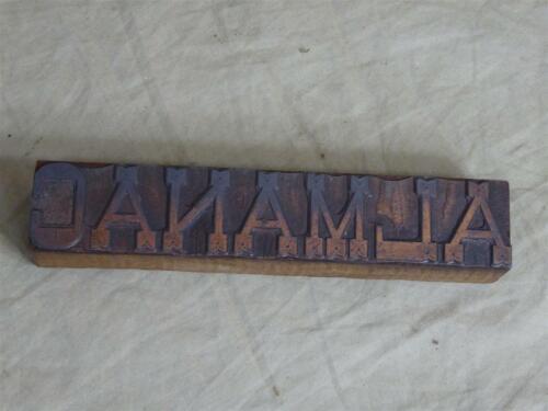 "Antique Letterpress Printer Typeset Ink Block ""ALMANAC"" (5""x1"")"