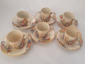 6 ART DECO China Coffee Cups + Saucers HAMPTON IVORY Cottage OLD ENGLAND GARDENS