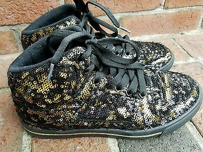 Gotta Flurt Girls Hip Hop II Black and Gold Sequin High Top Dance Sneakers Sz 2](Black And Gold Sequin Shoes)