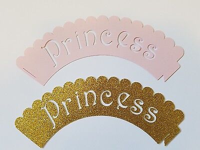 Pink and Gold Princess Cupcake Wrapper great for Princess Party-12 Pieces