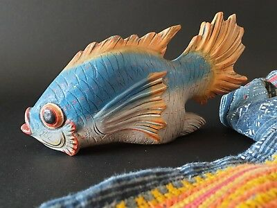 Old Chinese Carved Wooden Fish …beautiful colours / Hand Painted